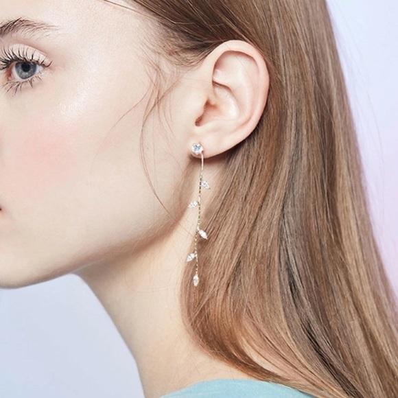3/$35 LAST ONE! Cascading Crystal Leaf Earrings